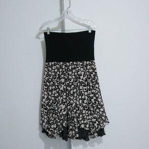 CAbi  Black Floral Reversible Skirt Fold Over M